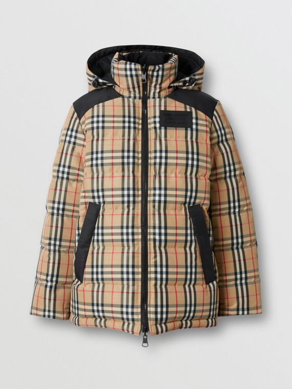 Reversible Vintage Check Recycled Polyester Jacket in Archive Beige