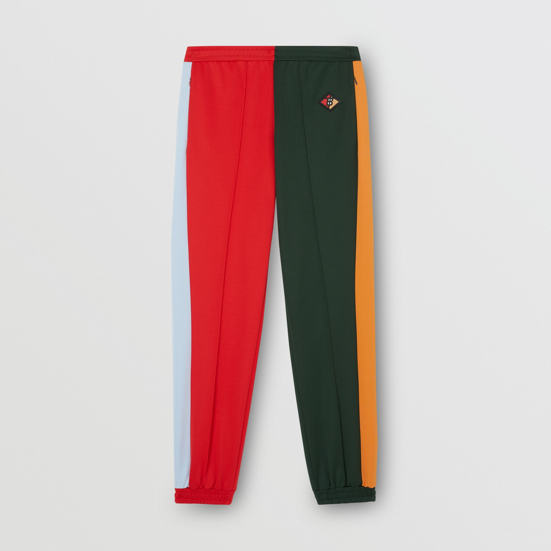 Logo Graphic Colour Block Jersey Trackpants in Dark Pine Green - Men | Burberry United Kingdom - gallery image 2