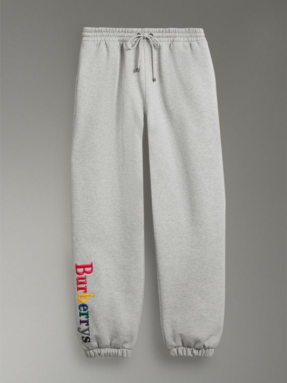 Archive Logo Jersey Sweatpants in Grey Melange - Men | Burberry - cell image 3