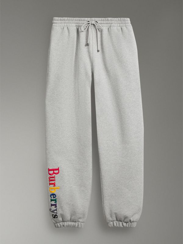 Archive Logo Jersey Sweatpants in Grey Melange - Men | Burberry Australia - cell image 3