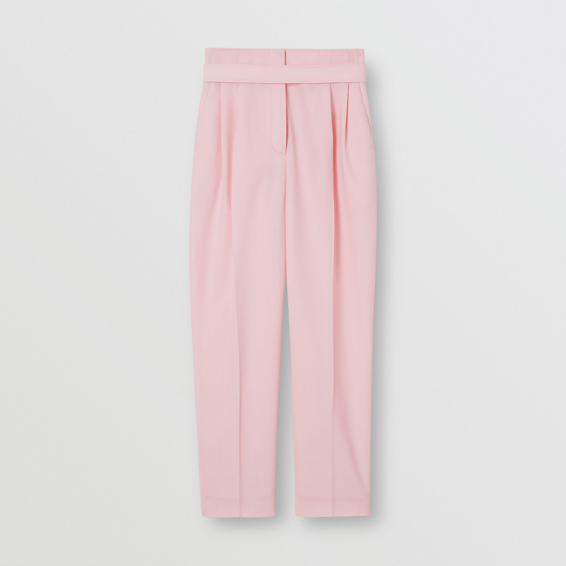 Custom Fit Cut-out Detail Wool Tailored Trousers in Pastel Pink - Women | Burberry United States - gallery image 0