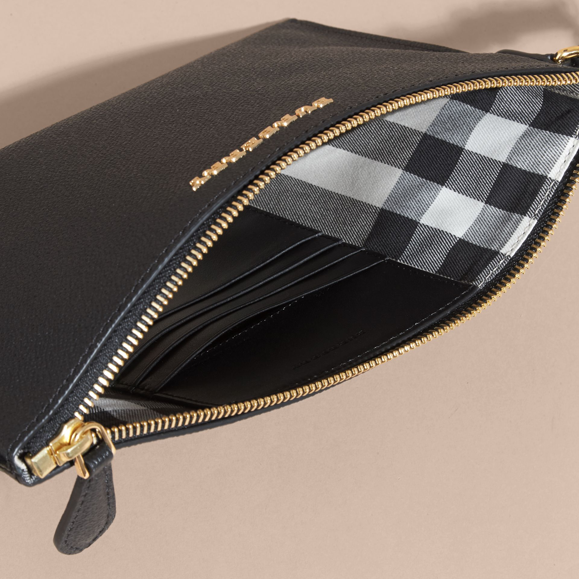 Black Leather Clutch Bag with Check Lining Black - gallery image 6