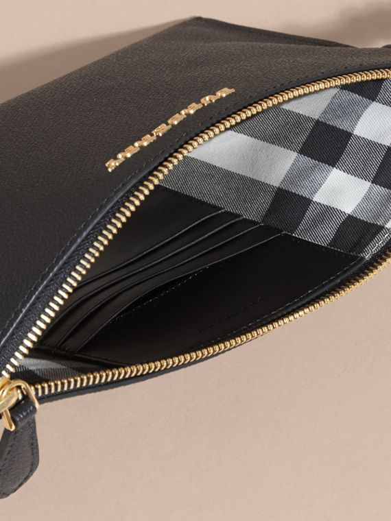Black Leather Clutch Bag with Check Lining Black - cell image 3