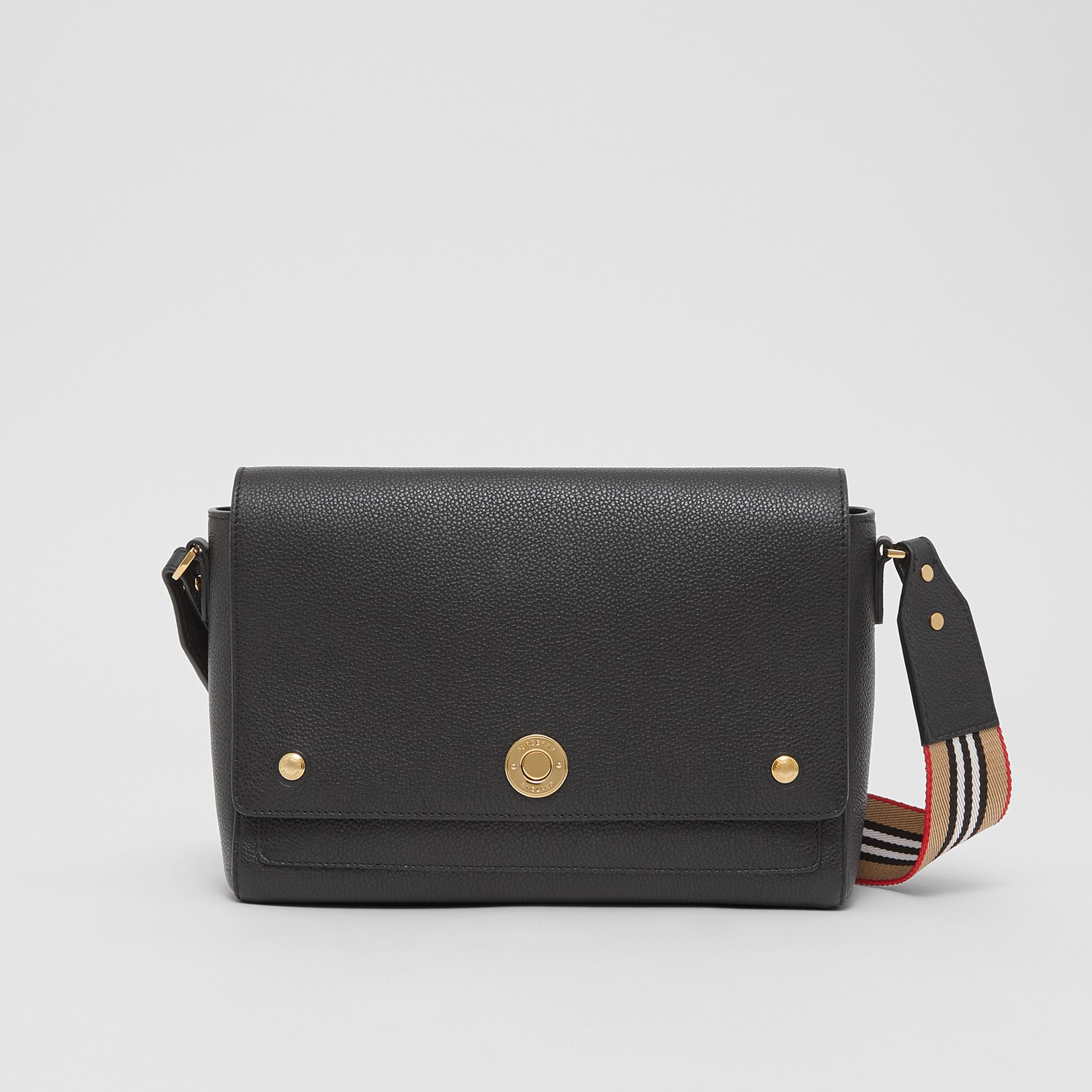 Grainy Leather Note Crossbody Bag in Black - Women | Burberry - 1
