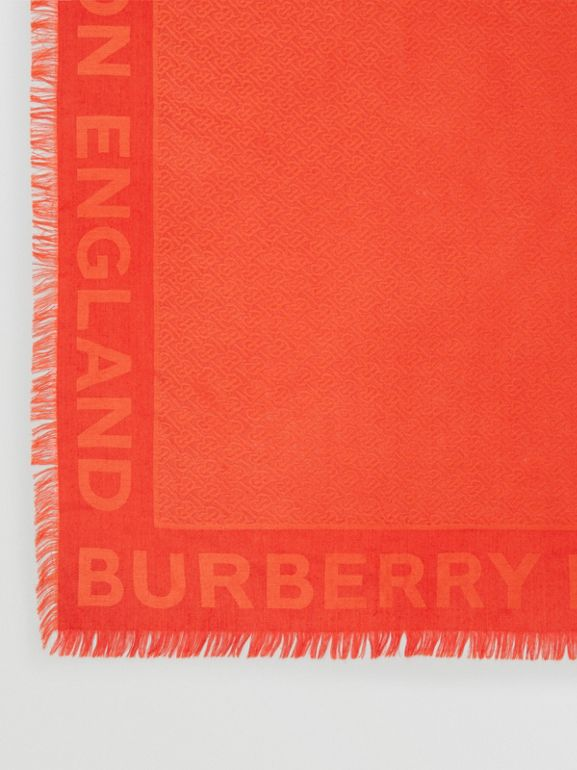 Monogram Silk Wool Jacquard Large Square Scarf in Vermilion | Burberry United States - cell image 1