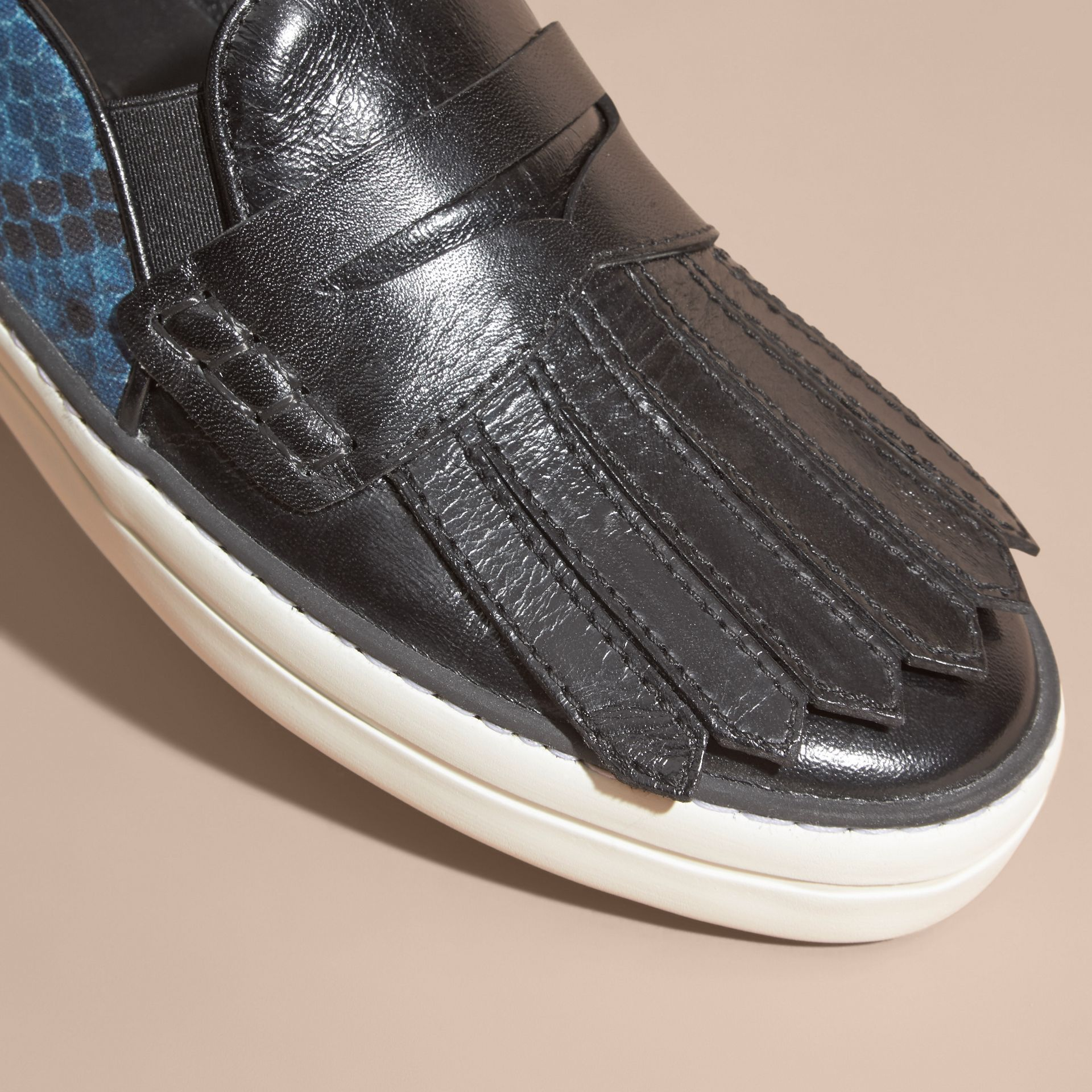 Black/mineral blue Python Print Cotton and Leather Trainers Black/mineral Blue - gallery image 2