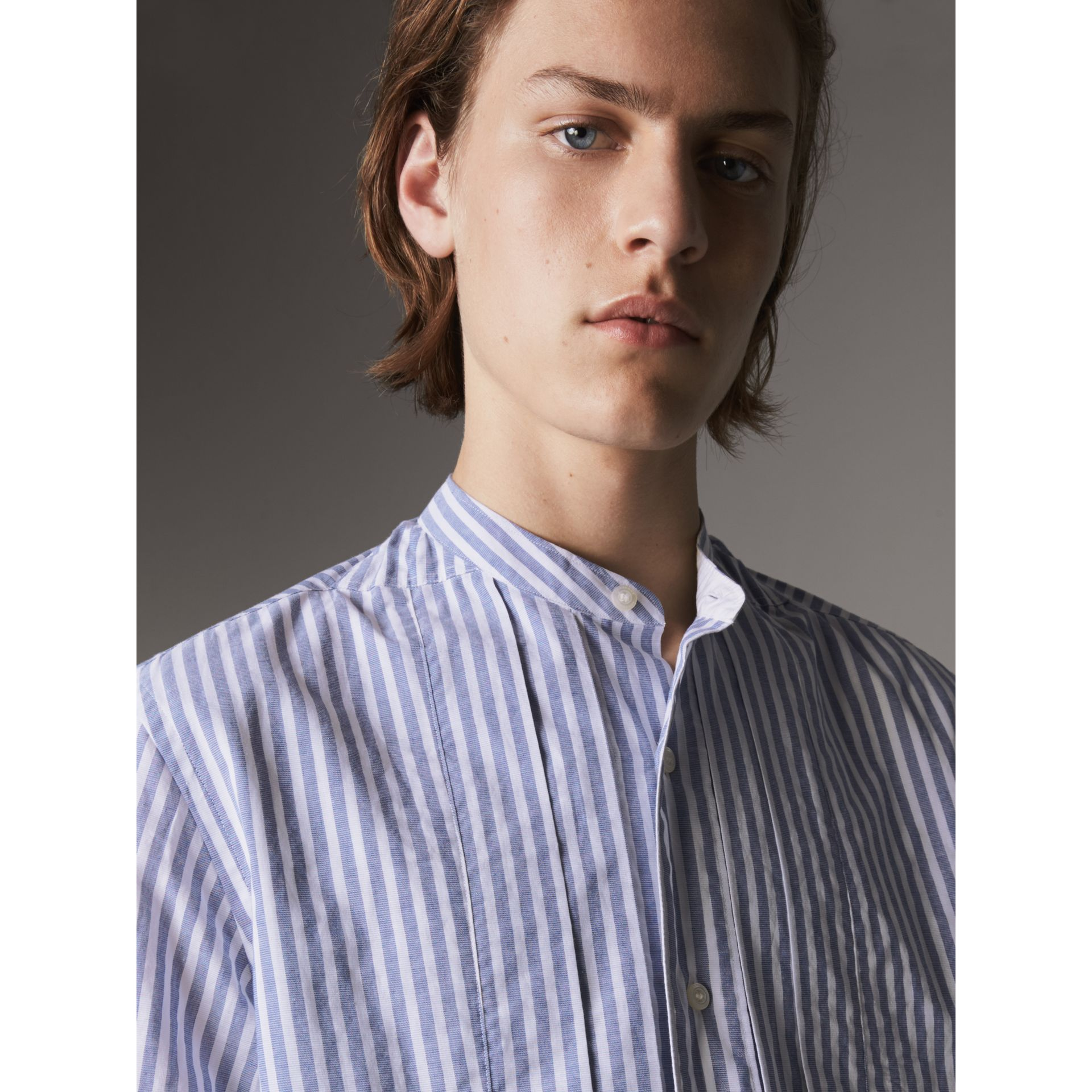 Unisex Pleated Bib Striped Cotton Shirt in Pale Blue/white - Men | Burberry - gallery image 2