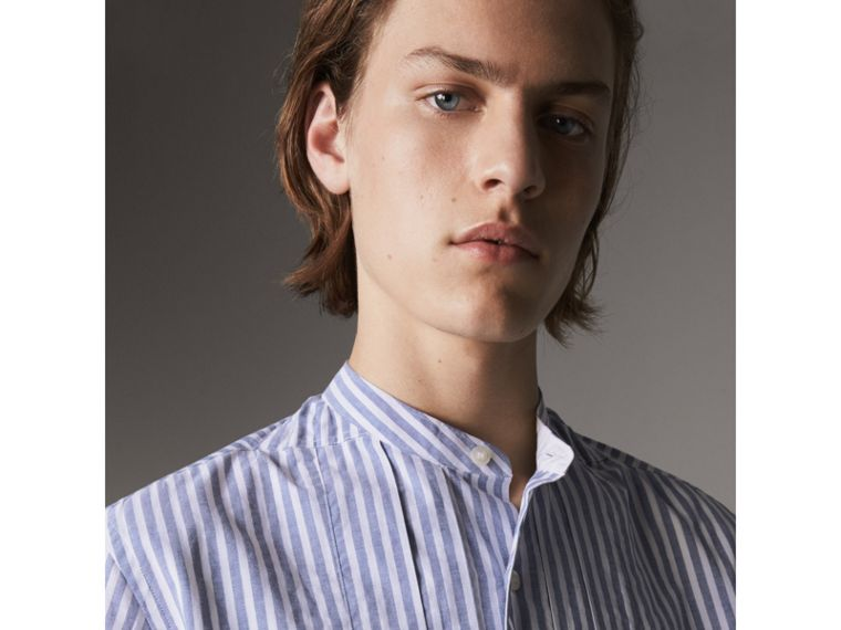 Unisex Pleated Bib Striped Cotton Shirt in Pale Blue/white - Men | Burberry - cell image 1