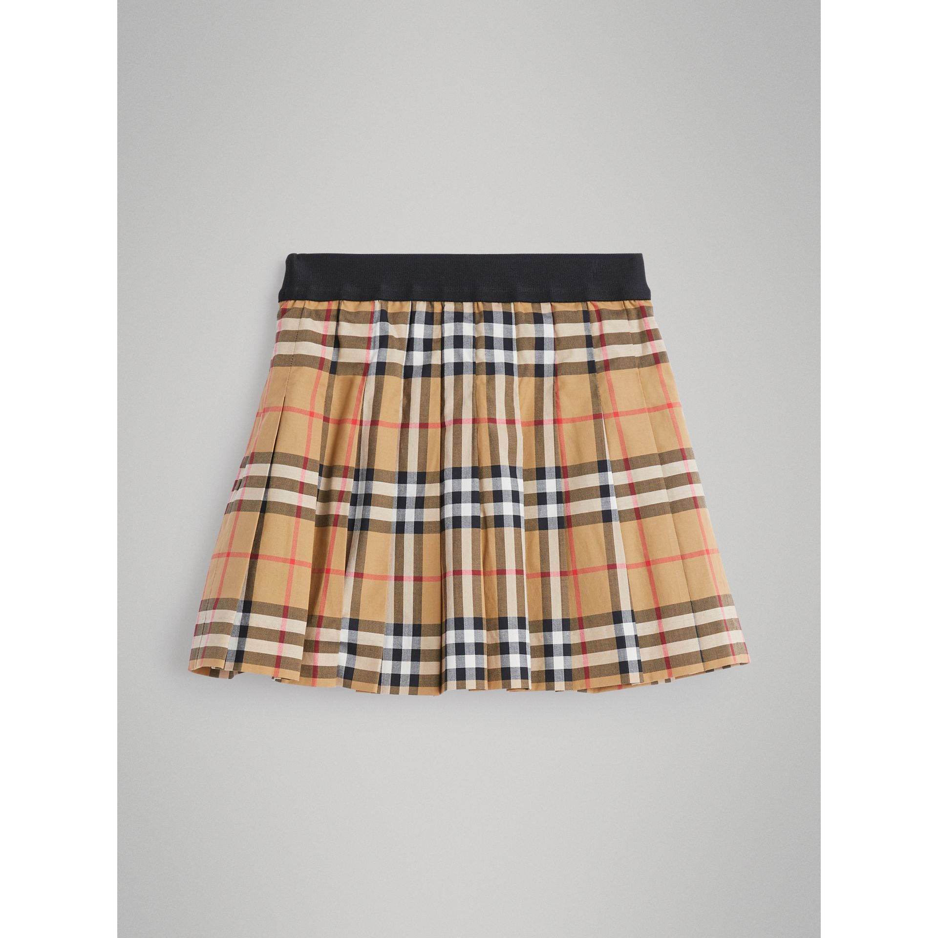 Pleated Vintage Check Cotton Skirt in Antique Yellow - Girl | Burberry - gallery image 3