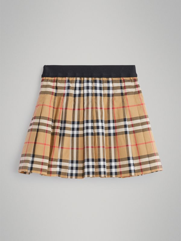 Pleated Vintage Check Cotton Skirt in Antique Yellow - Girl | Burberry - cell image 3