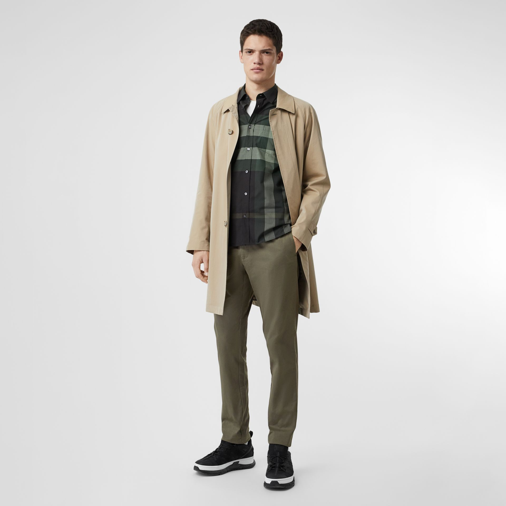 Slim Fit Cotton Chinos in Military Green - Men | Burberry - gallery image 0
