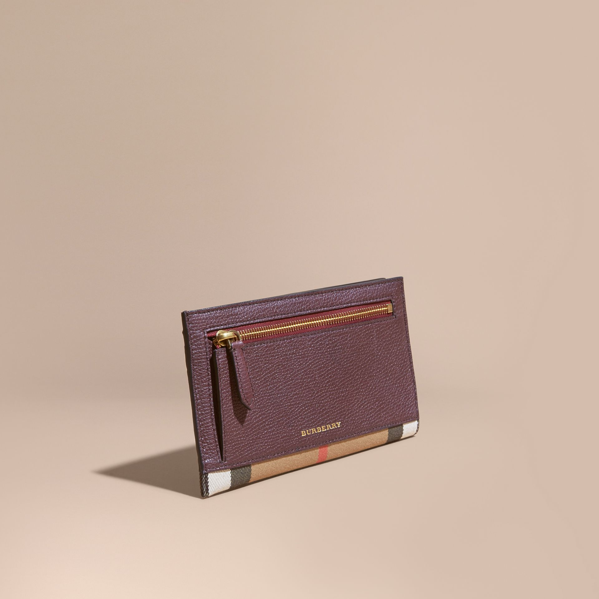 House Check and Grainy Leather Travel Wallet in Wine - gallery image 1