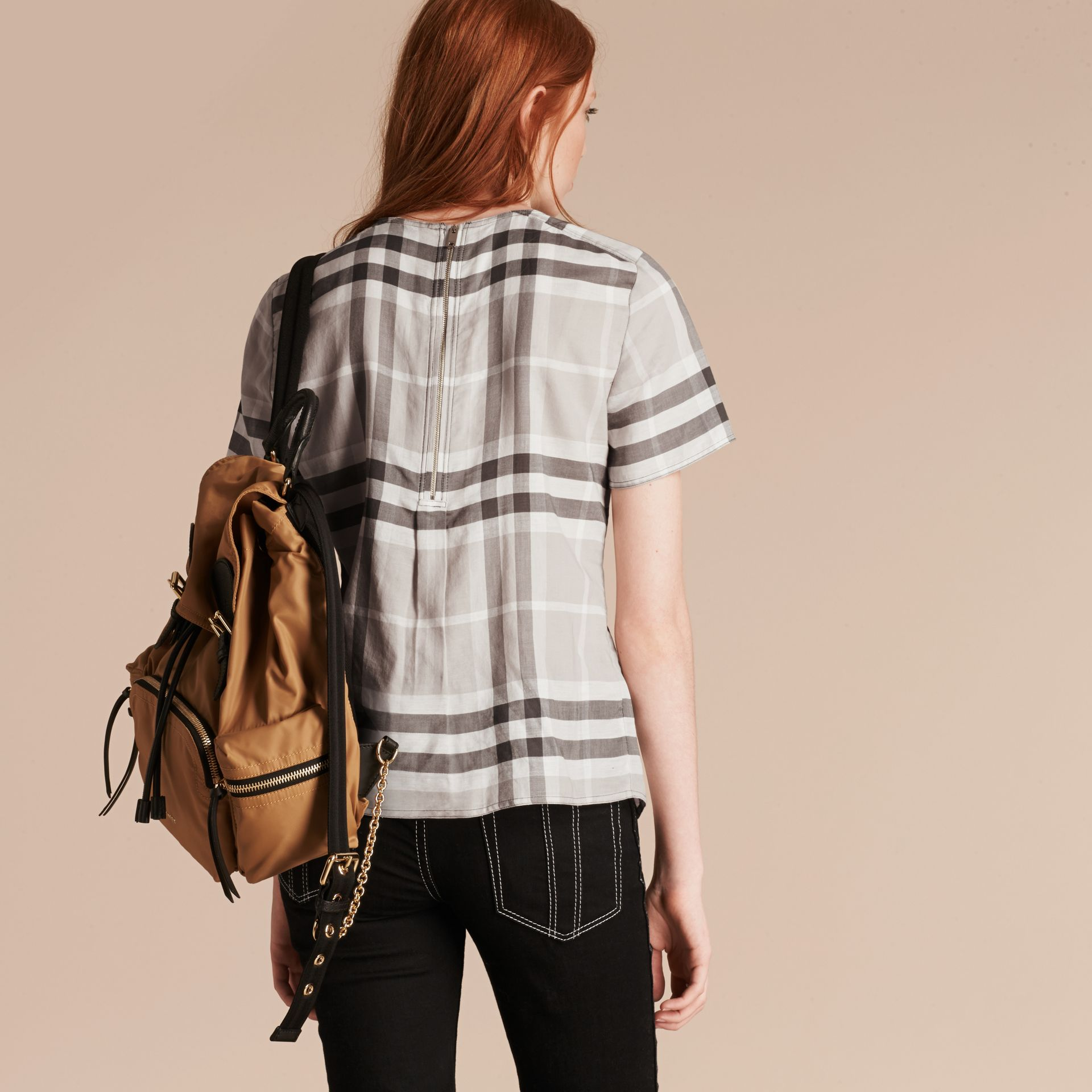 Pale grey Short-sleeved Fringed Check Cotton Top Pale Grey - gallery image 3
