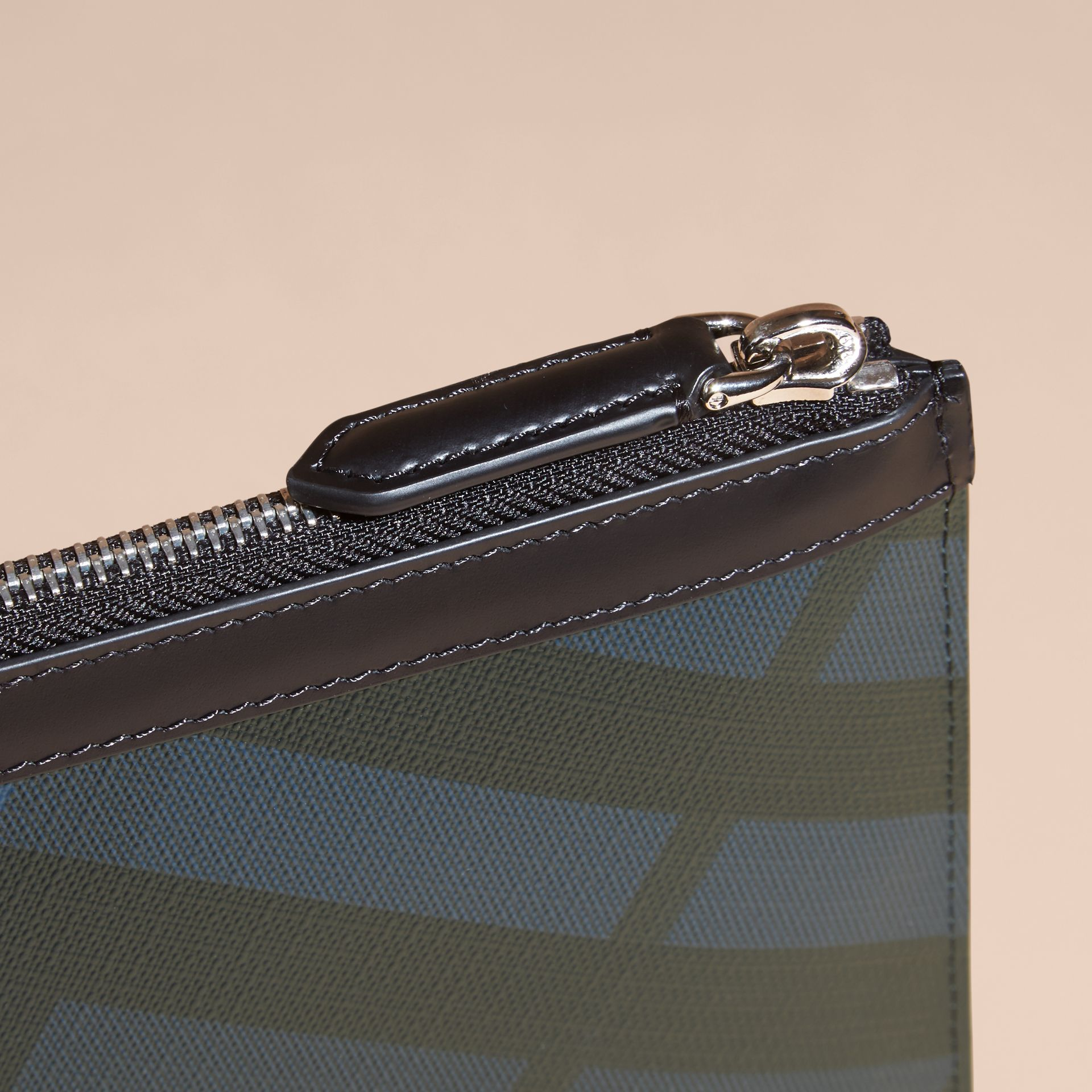 Zipped London Check Pouch in Navy/black - Men | Burberry Australia - gallery image 5