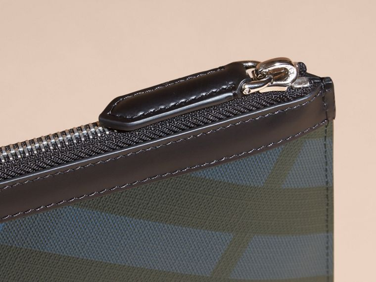 Zipped London Check Pouch in Navy/black - Men | Burberry - cell image 4