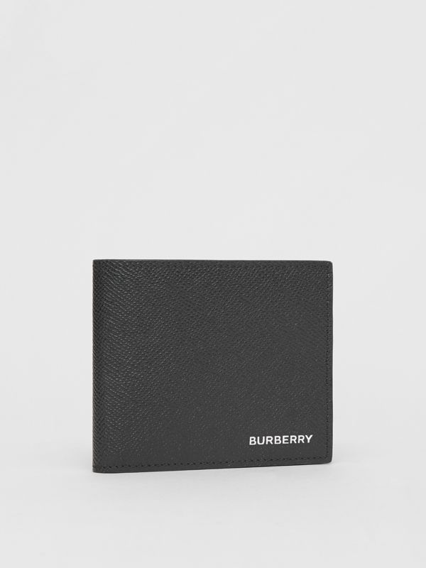 Grainy Leather International Bifold Coin Wallet in Black - Men | Burberry - cell image 3
