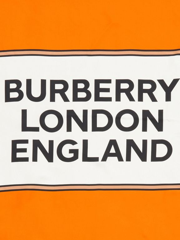 Logo Print Silk Square Scarf in Orange | Burberry - cell image 1