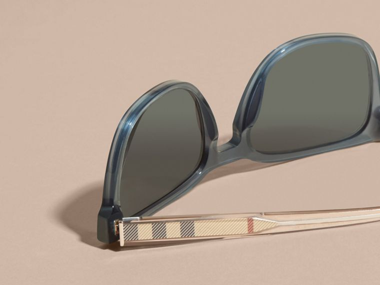 Blue grey Check Detail Square Frame Sunglasses Blue Grey - cell image 1