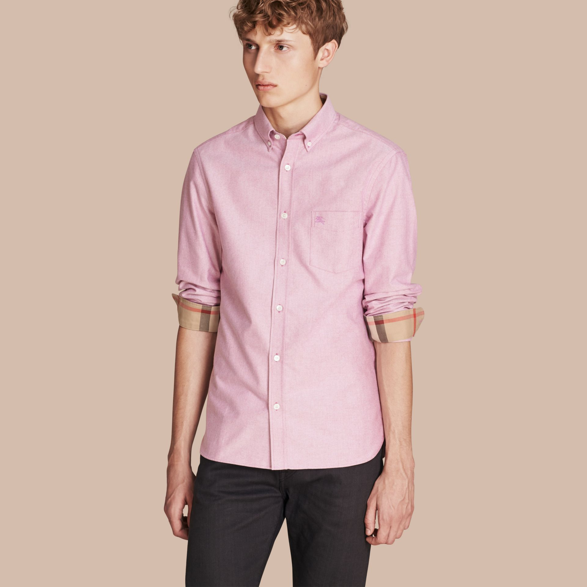 Check Detail Cotton Oxford Shirt in Bright Rose - Men | Burberry - gallery image 1