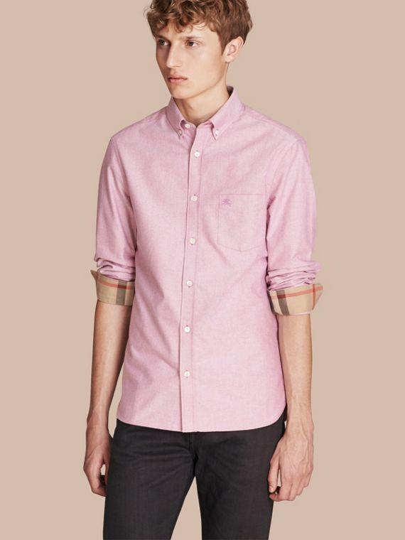 Check Detail Cotton Oxford Shirt Bright Rose