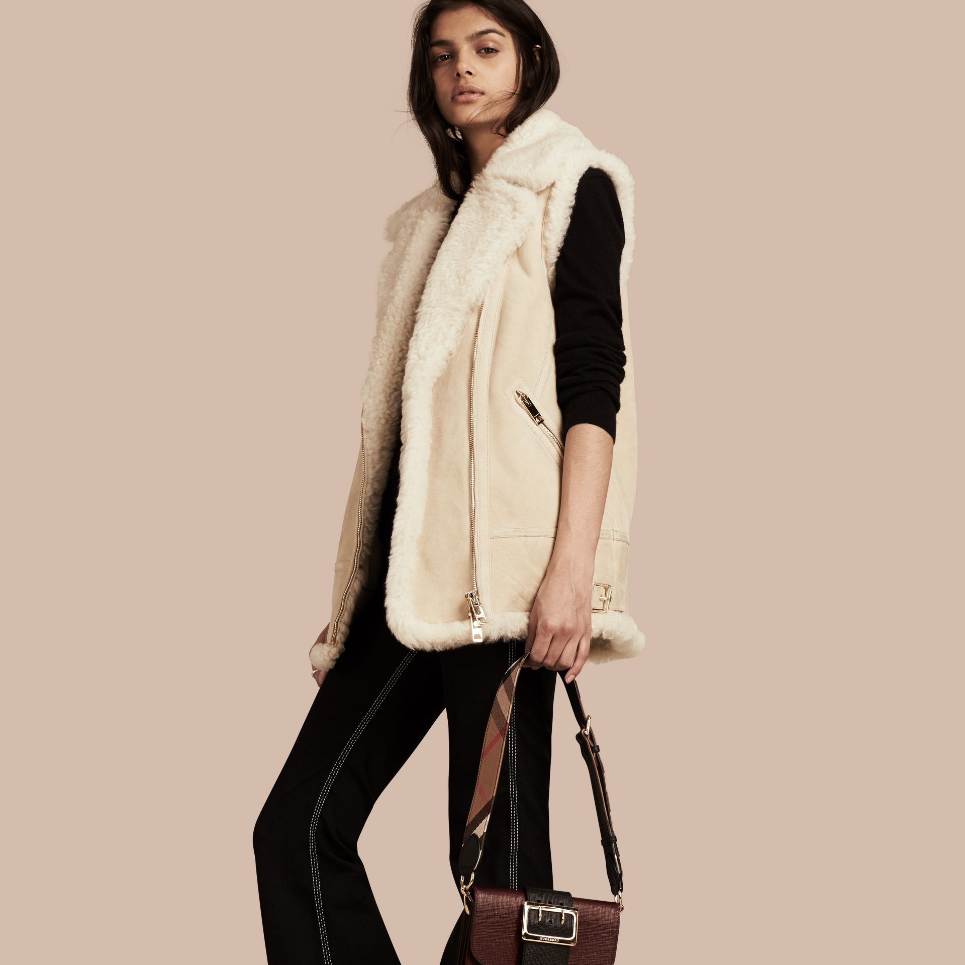 Natural white Shearling Biker Gilet Natural White - gallery image 1