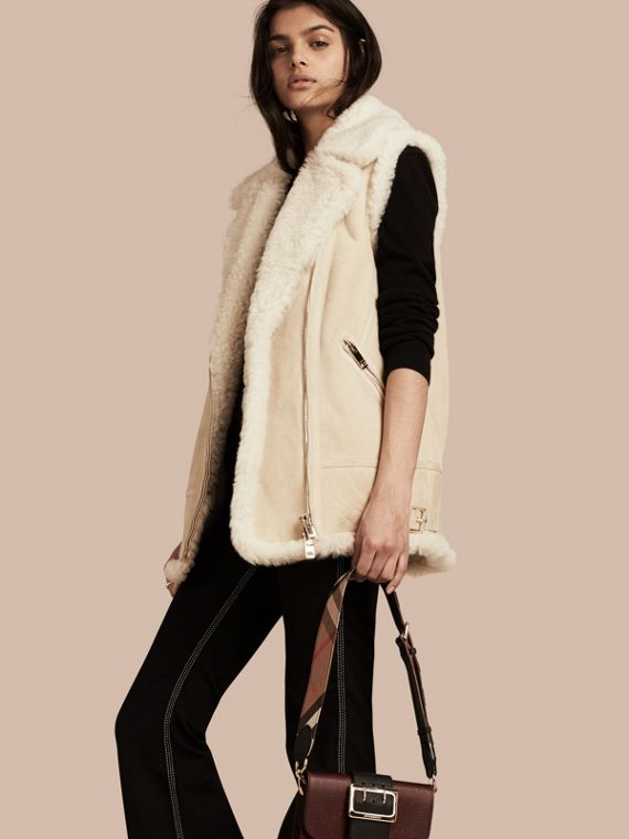 Perfecto sans manches en shearling Blanc Naturel