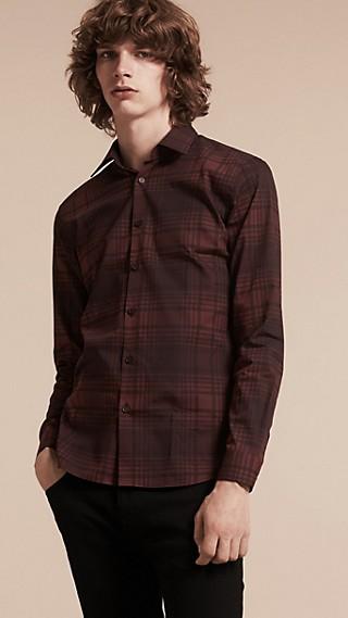 Chemise légère en coton et soie à motif check