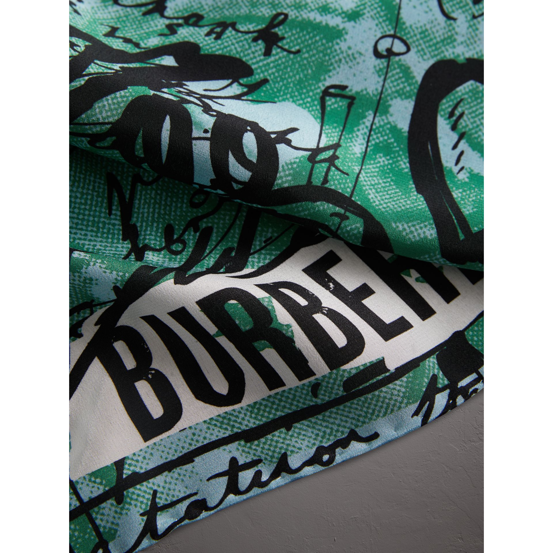 Postcard Print Silk Scarf in Mineral Blue - Women | Burberry - gallery image 1
