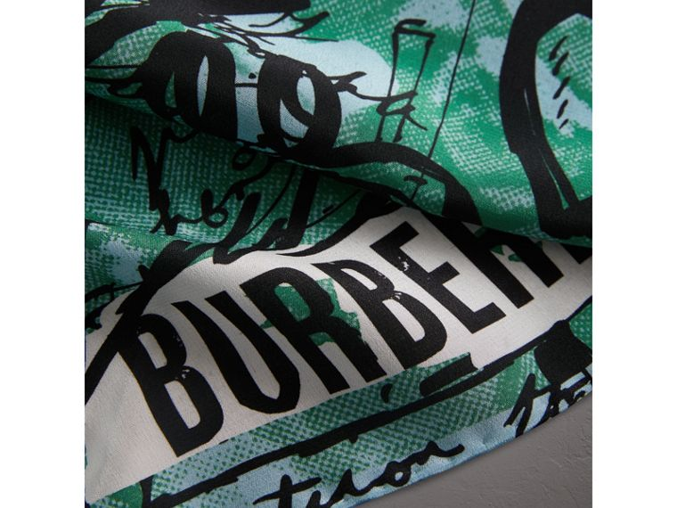 Postcard Print Silk Scarf in Mineral Blue - Women | Burberry - cell image 1