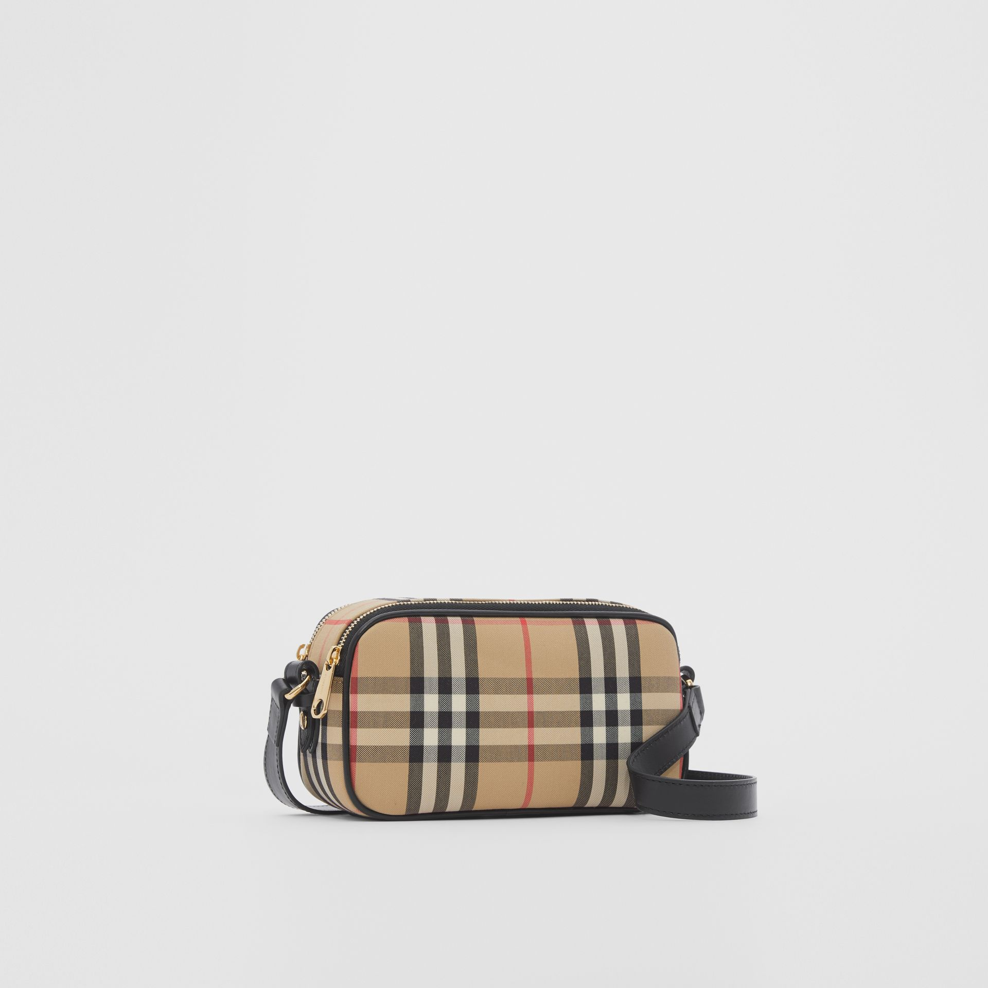 Mini Vintage Check and Leather Camera Bag in Archive Beige | Burberry - gallery image 6