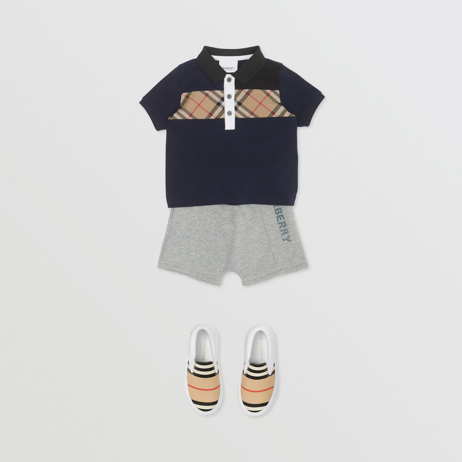 Vintage Check Panel Cotton Polo Shirt in Navy - Children | Burberry - gallery image 1