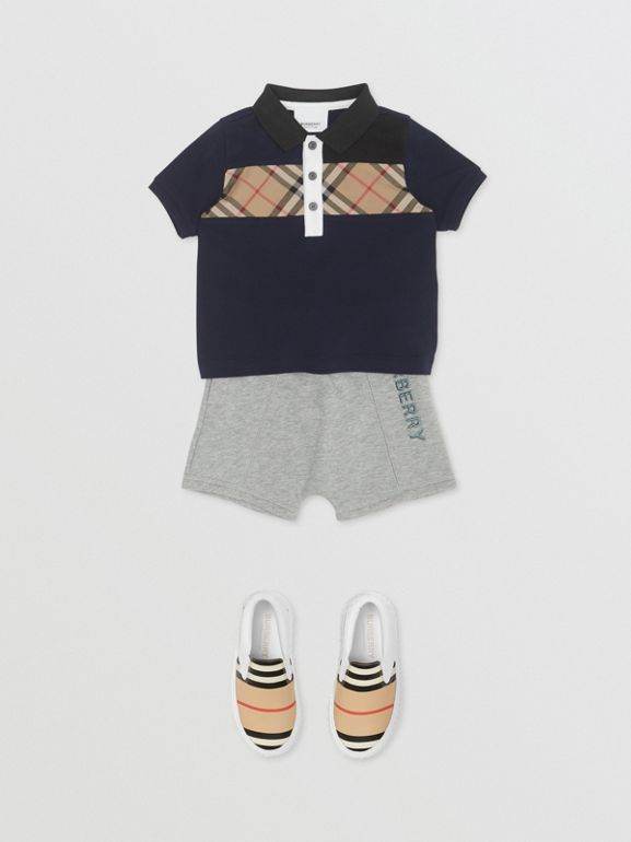 Vintage Check Panel Cotton Polo Shirt in Navy - Children | Burberry - cell image 1