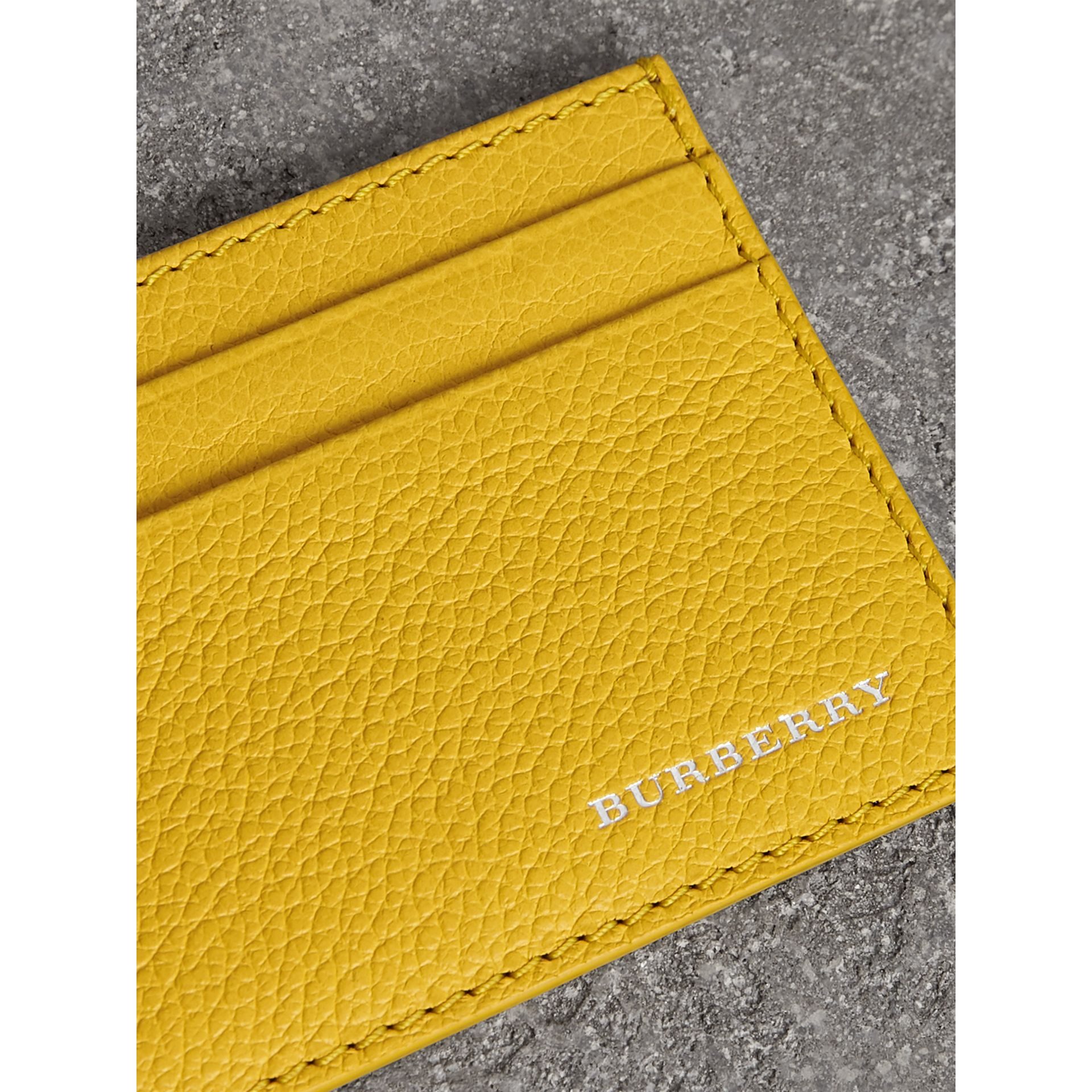 Grainy Leather Card Case in Bright Ochre Yellow | Burberry - gallery image 1