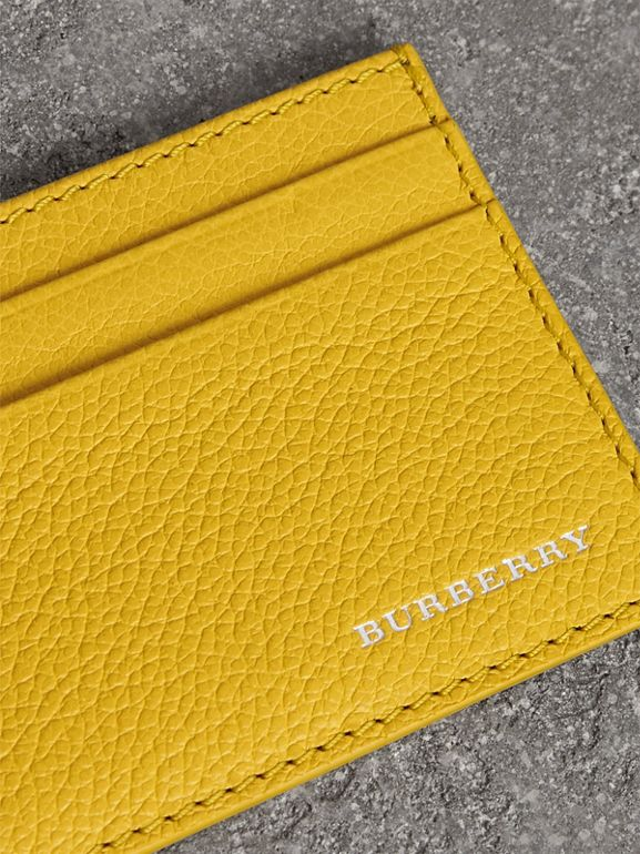 Grainy Leather Card Case in Bright Ochre Yellow | Burberry - cell image 1
