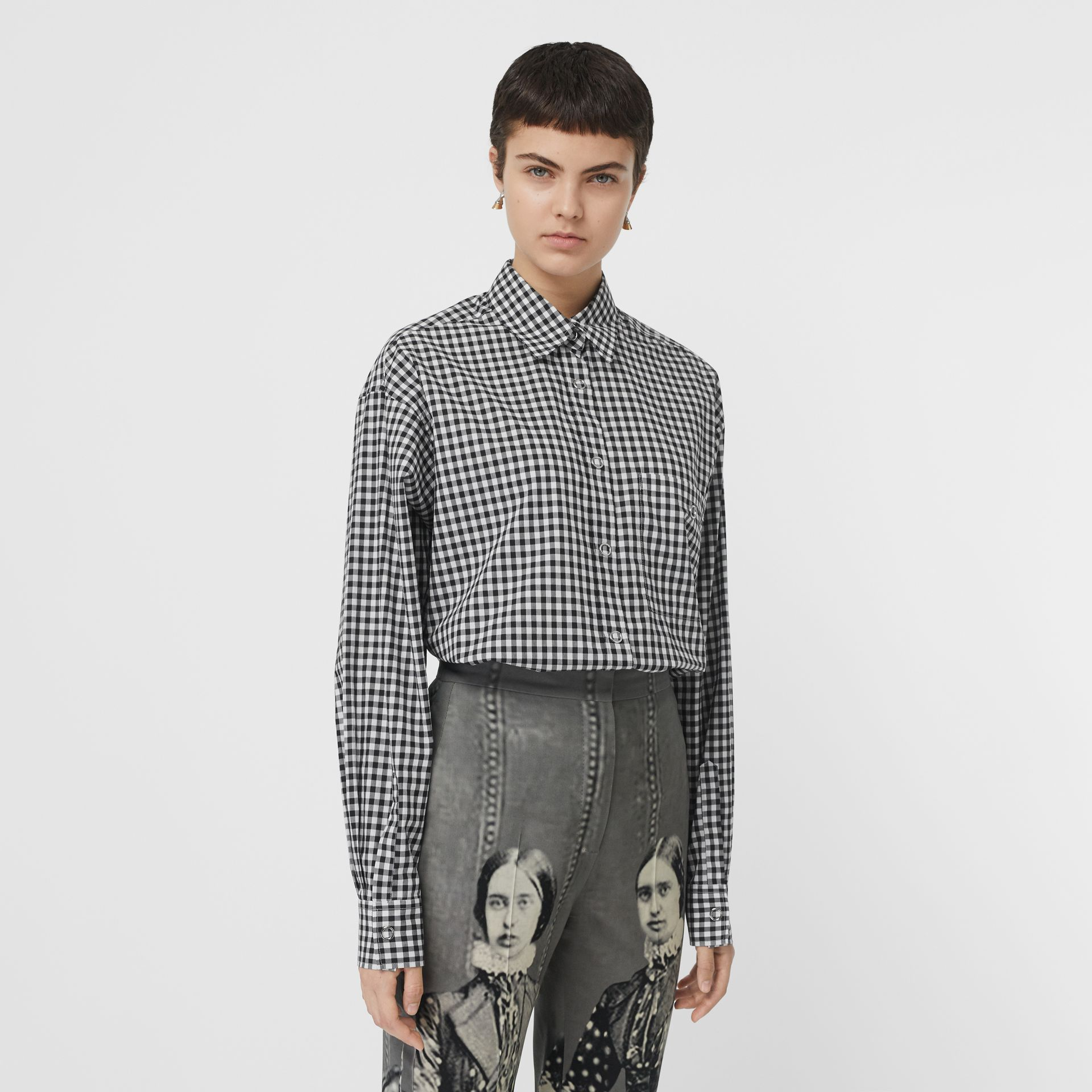Puff-sleeve Gingham Cotton Oversized Shirt in Black/white - Women | Burberry Canada - gallery image 0