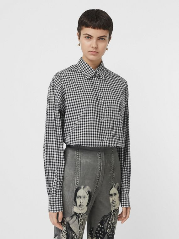 Puff-sleeve Gingham Cotton Shirt in Black/white