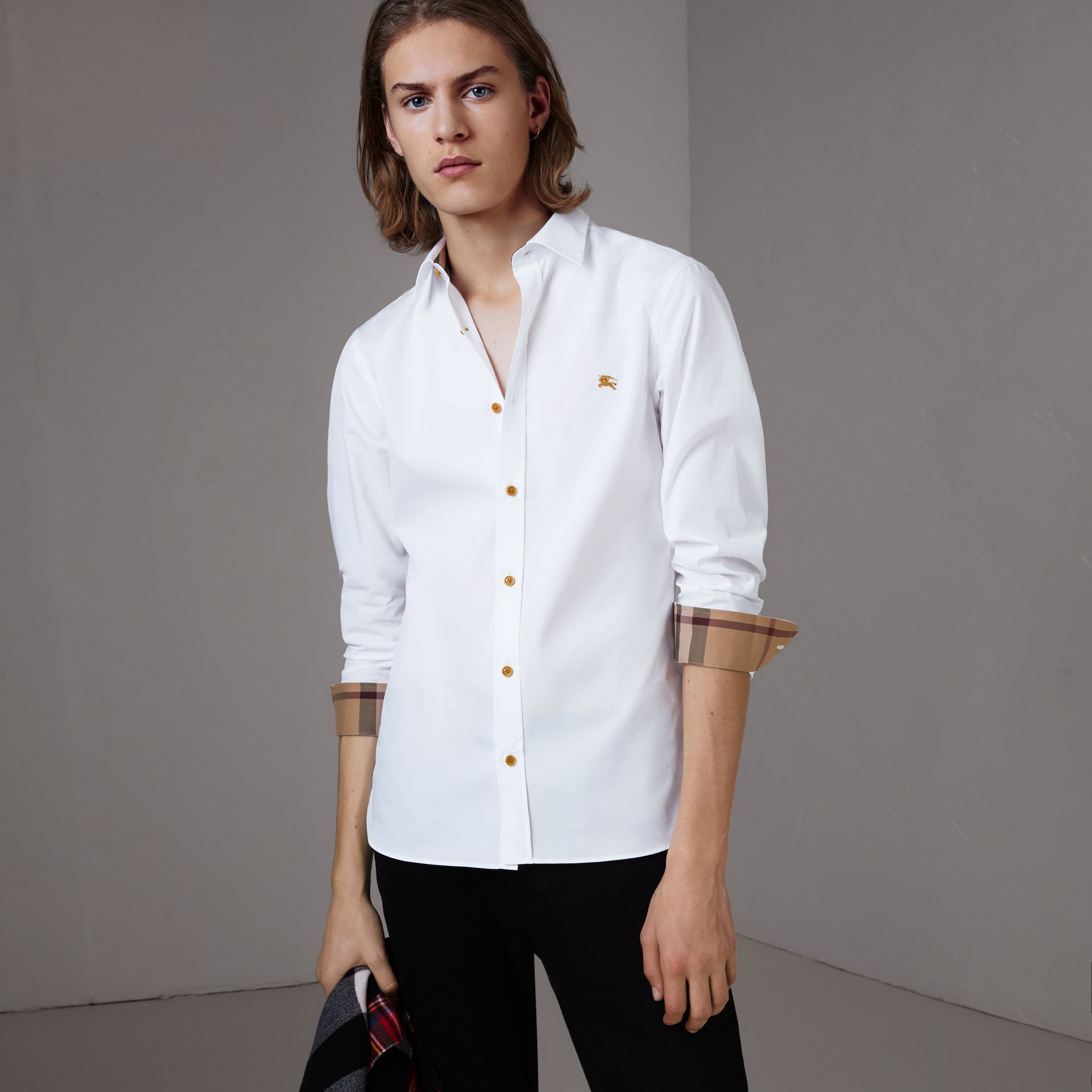 Resin Button Cotton Poplin Shirt in White - Men | Burberry - gallery image 0