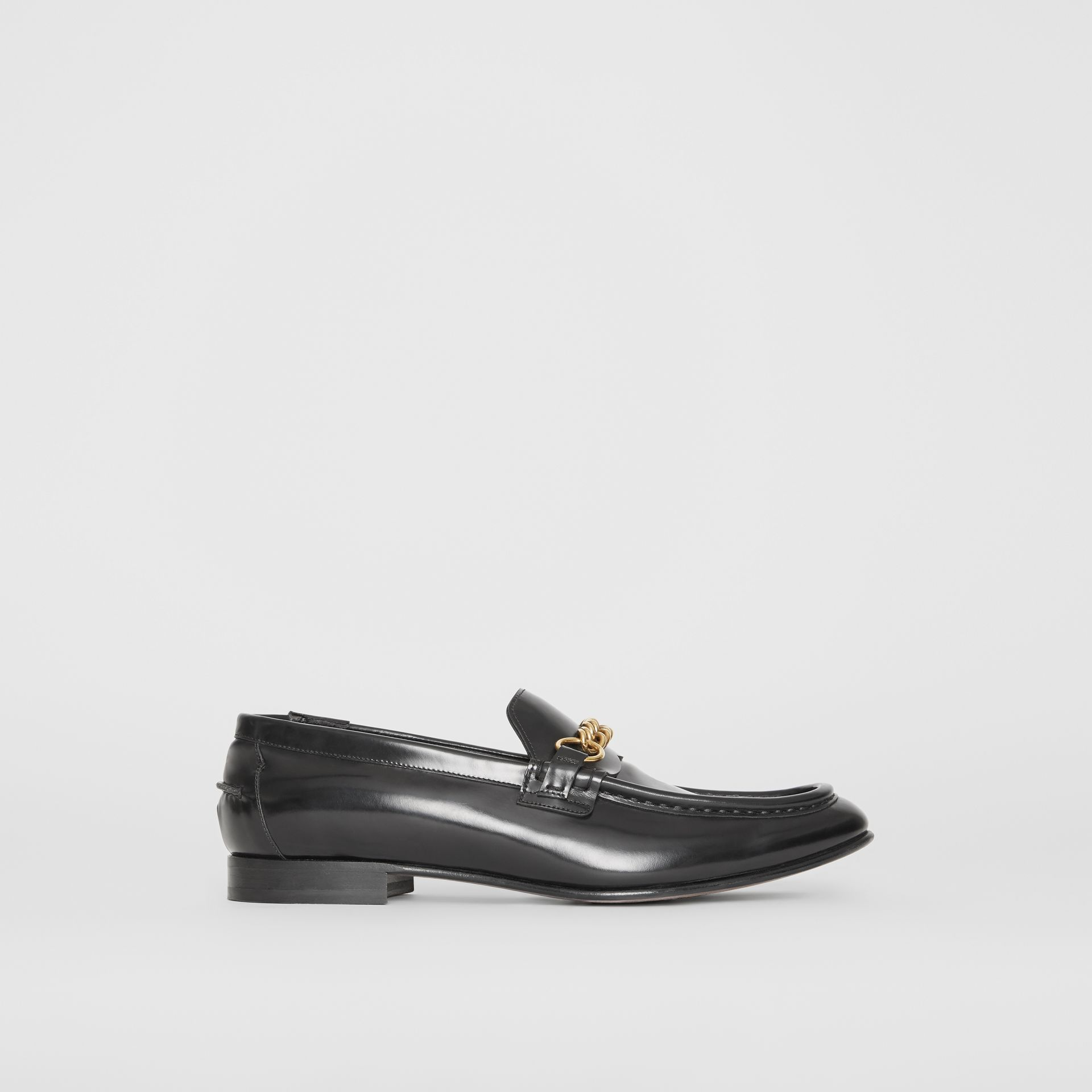The Leather Link Loafer in Black - Men | Burberry - gallery image 5