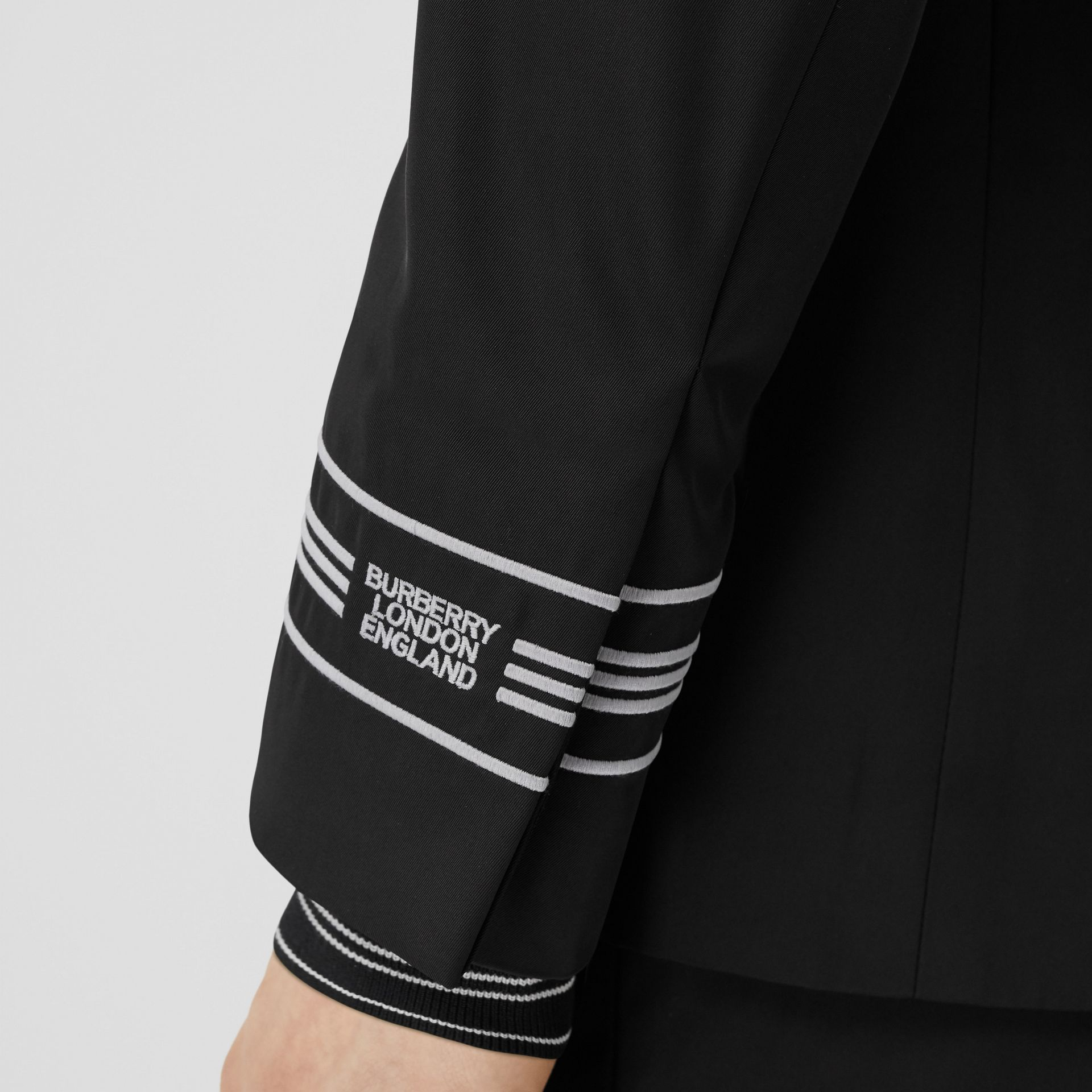 Classic Fit Stripe Detail Technical Twill Tailored Jacket in Black - Men | Burberry United Kingdom - gallery image 4
