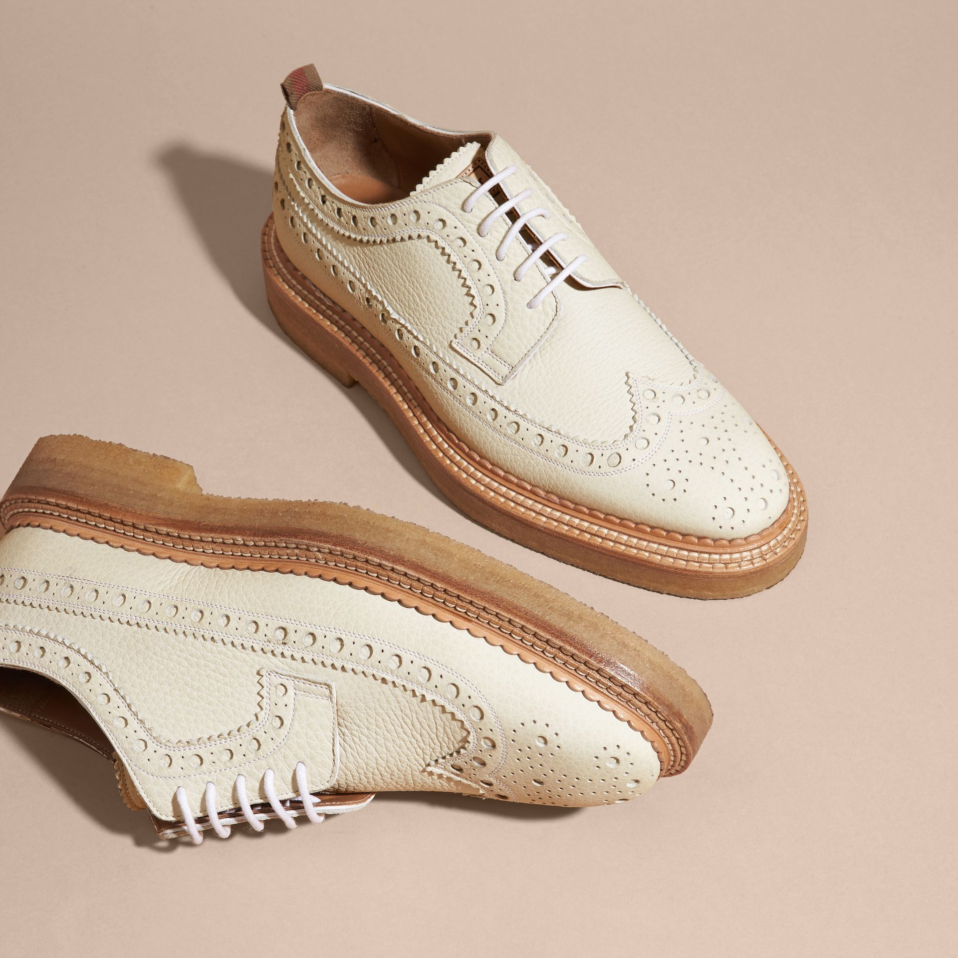 Leather Wingtip Brogues Off White - gallery image 3