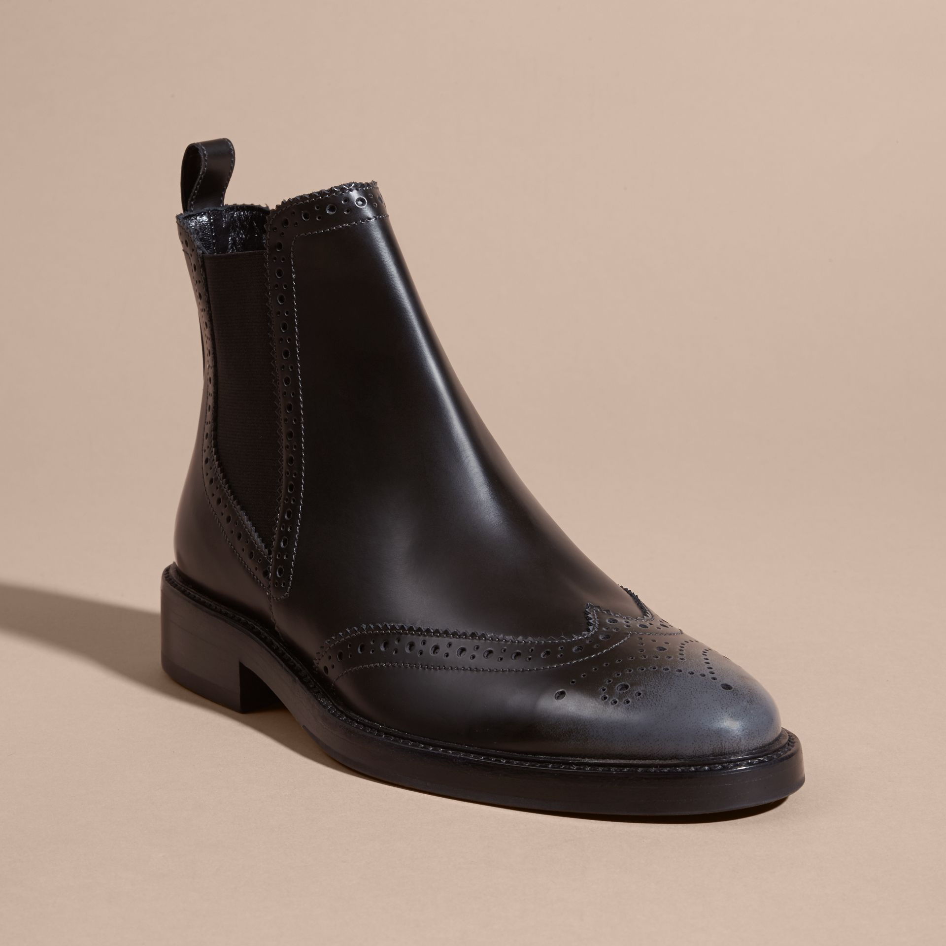 Ink grey Burnished Leather Wingtip Chelsea Boots - gallery image 3