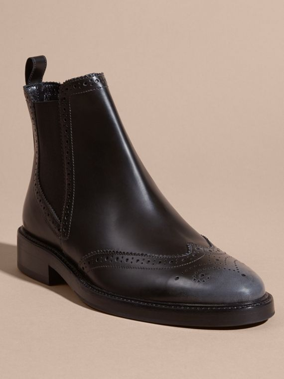 Ink grey Burnished Leather Wingtip Chelsea Boots - cell image 2