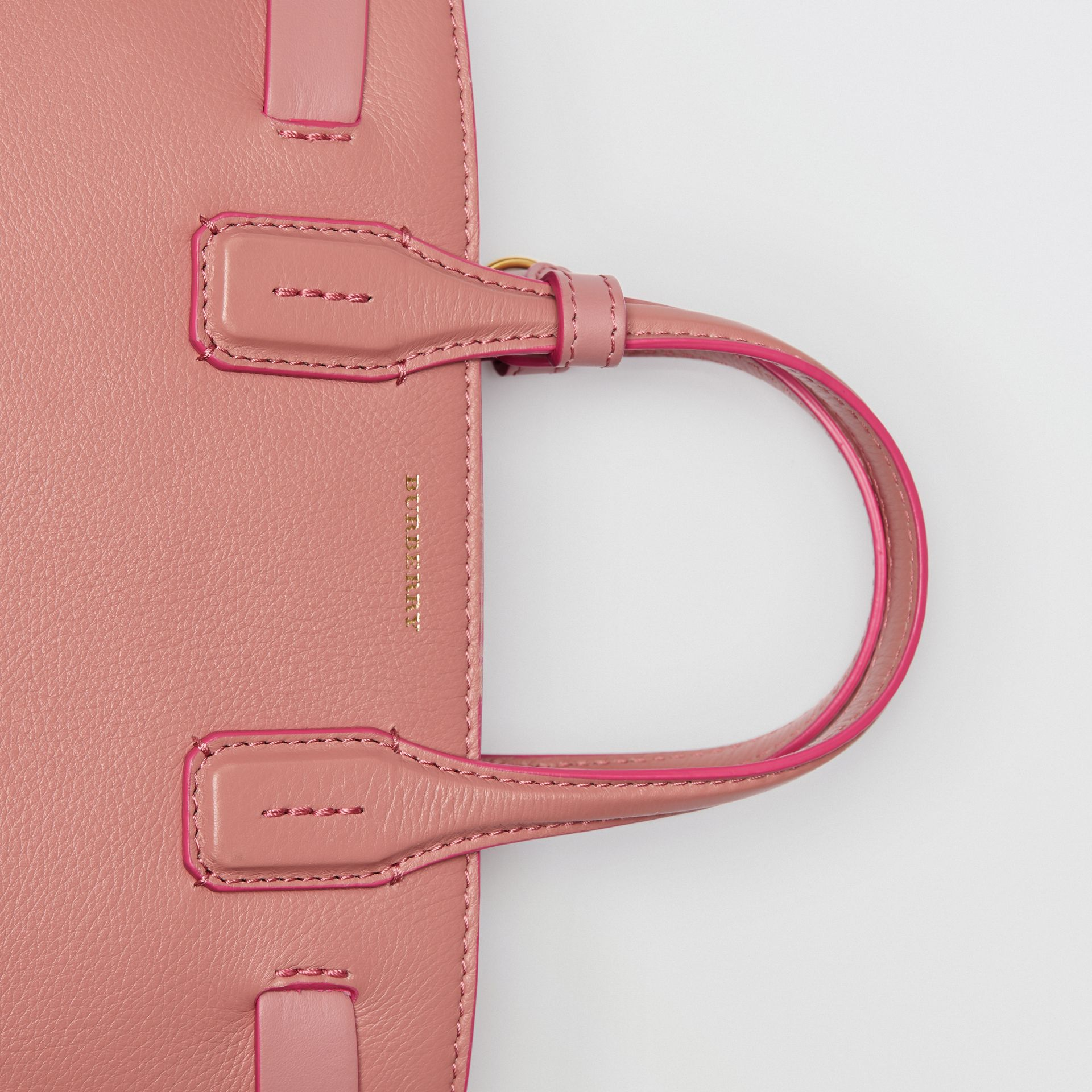 The Small Banner in Leather and Vintage Check in Dusty Rose - Women | Burberry Australia - gallery image 1