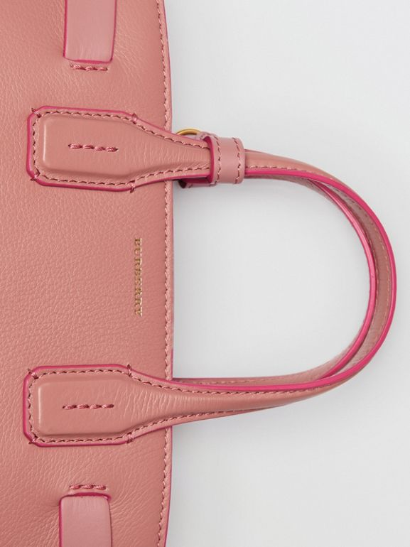 The Small Banner in Leather and Vintage Check in Dusty Rose - Women | Burberry - cell image 1