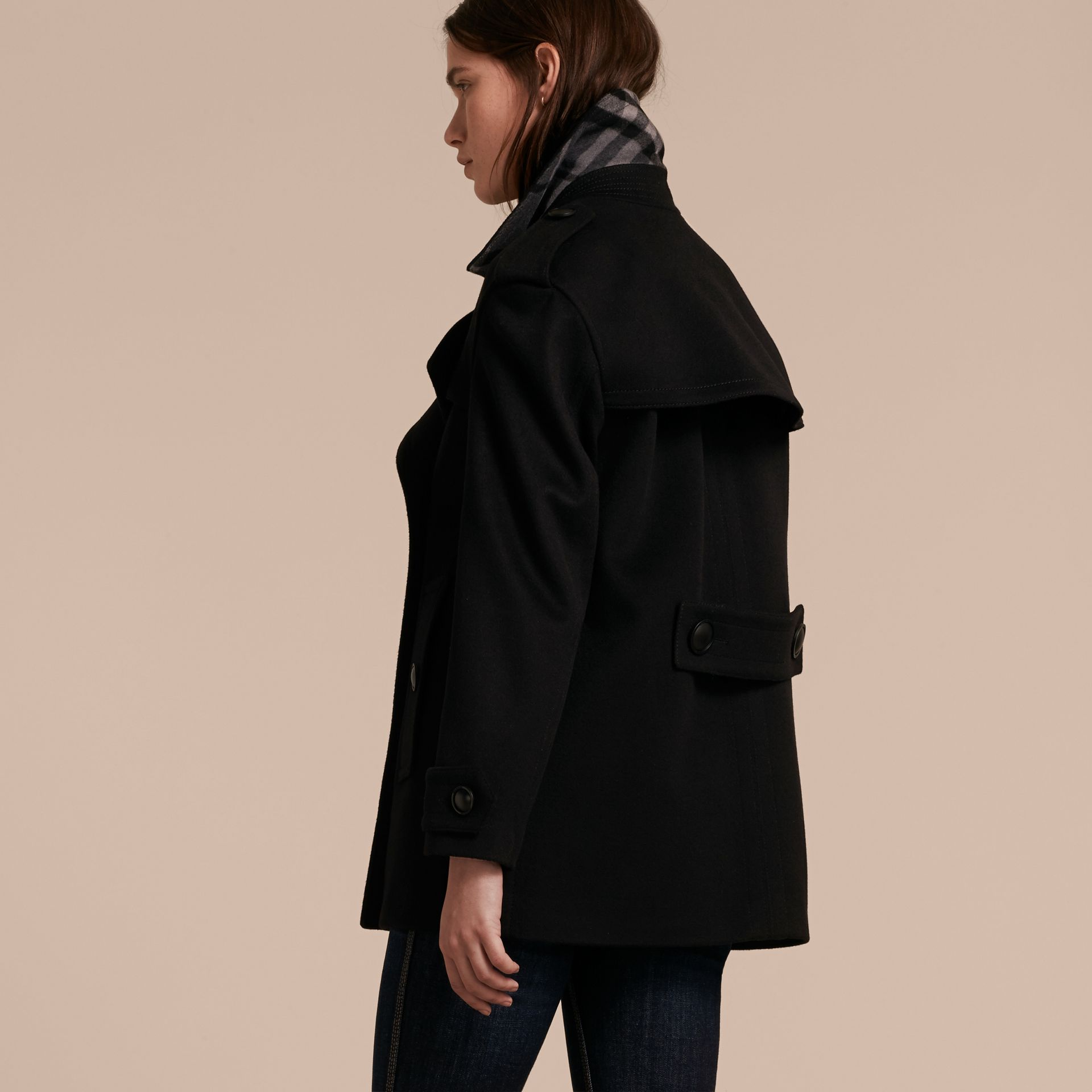 Black Wool Cashmere Pea Coat with Detachable Warmer - gallery image 6