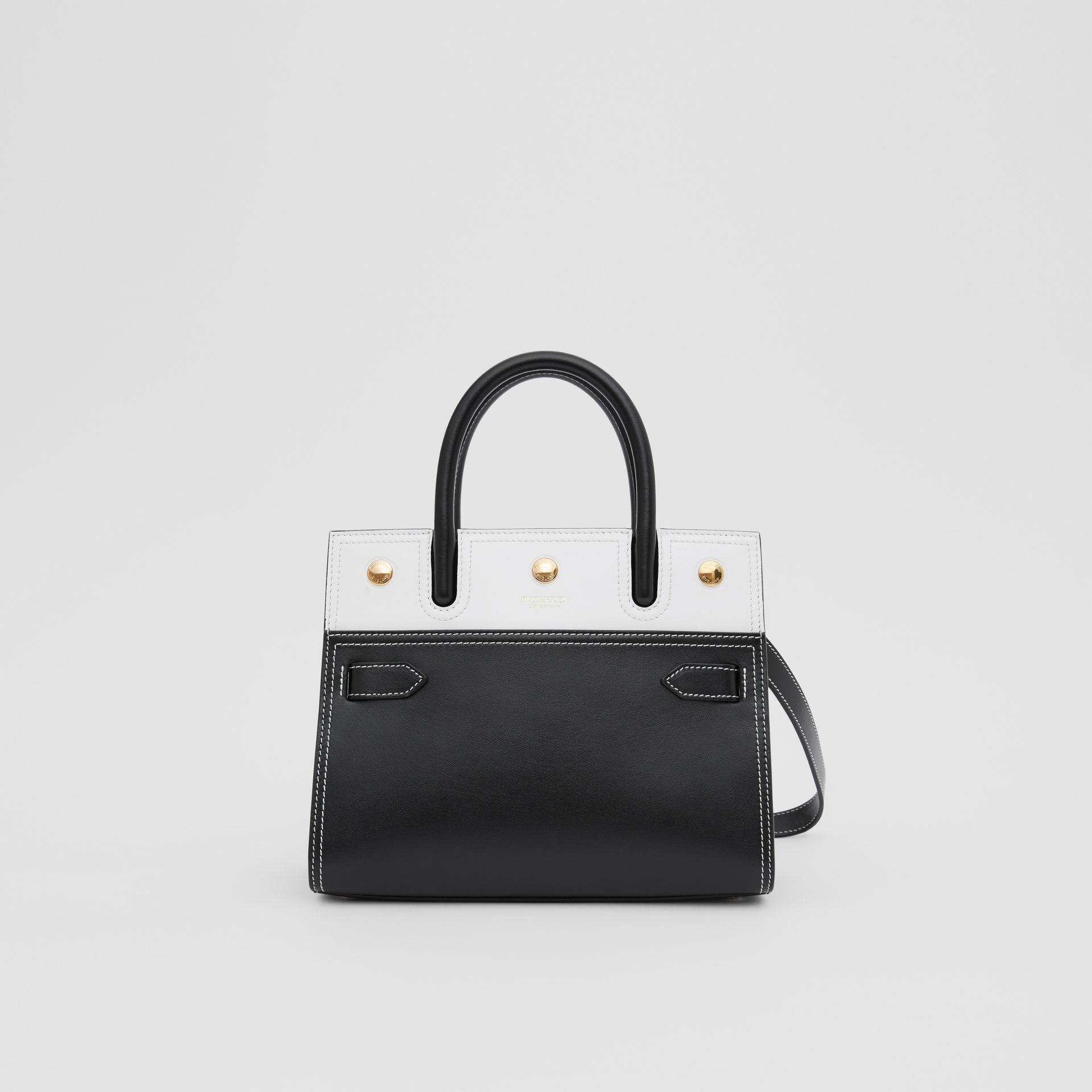 Mini Leather Two-handle Title Bag in Black/white - Women | Burberry - gallery image 0