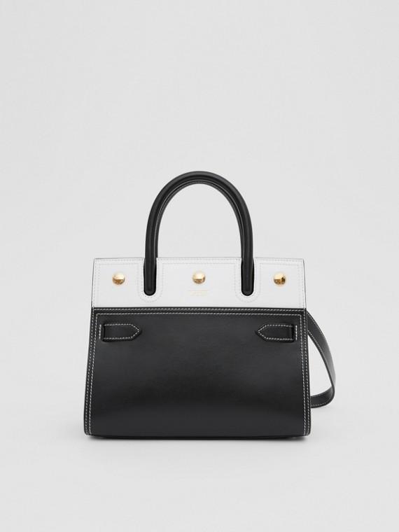 Mini sac Title en cuir à double poignée (Noir/blanc)