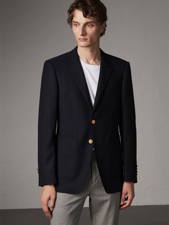 Modern Fit Tailored Wool Half-canvas Jacket in Navy