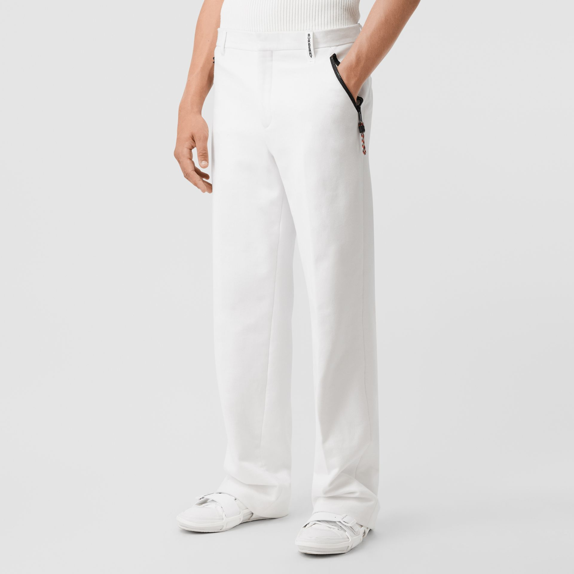 Cotton Jersey Wide-leg Tailored Trousers in Optic White | Burberry United Kingdom - gallery image 4