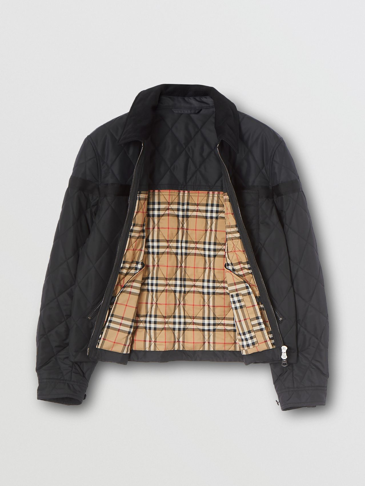 Corduroy Collar Diamond Quilted Jacket in Black